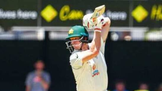 Australia's Steve Smith bats during play on the first day of the fourth cricket test between India and Australia at the Gabba, Brisbane(AP)