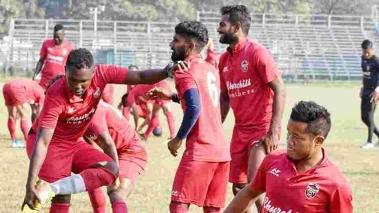 Churchill Brothers S.C. players during a practice session.(ANI)