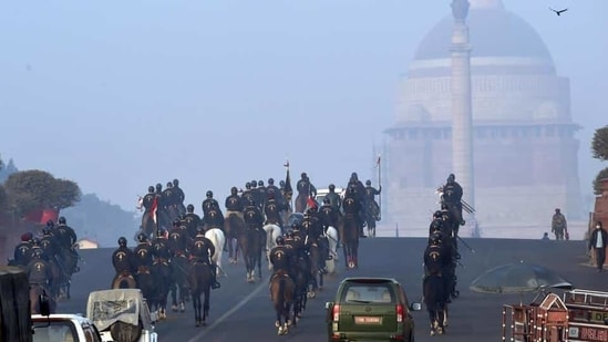 The President's Bodyguard during rehearsals for the Republic Day parade at Rajpath in New Delhi, India.(Arvind Yadav/HT PHOTO)