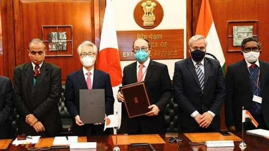 Foreign Secretary Harsh Shringla signed the Specified Skilled Workers Agreement with Ambassador Suzuki. (@MEAIndia/Twitter)
