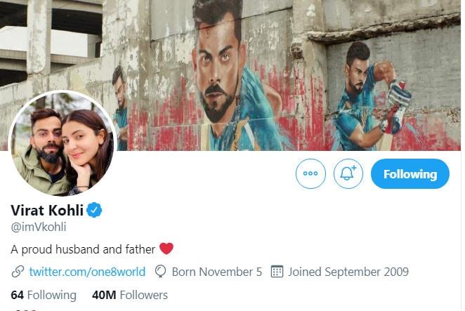 A glimpse of Virat Kohli's new Twitter bio.