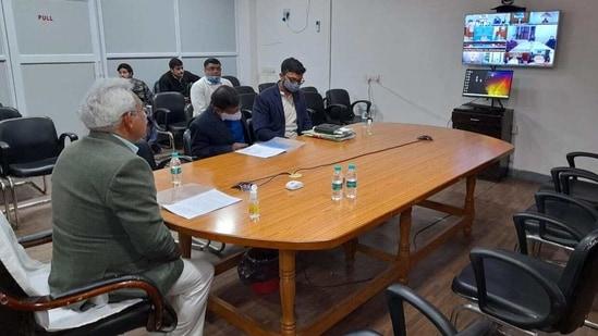 Uttarakhand Urban Development Minister Madan Kaushik at the video meeting with Union Finance Minister Nirmala Sitharaman on Tuesday.(HT PHOTO)