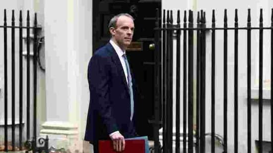 Britain's Foreign Affairs Secretary Dominic Raab arrives at Downing Street, in London. (REUTERS)