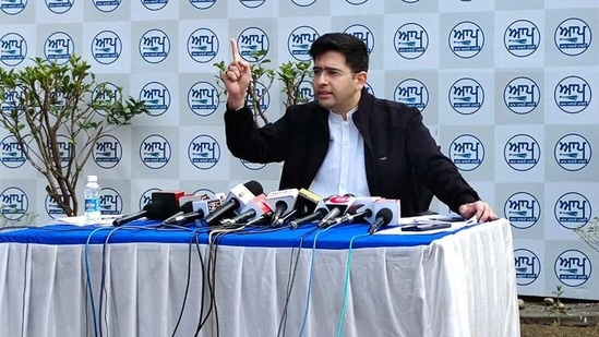 AAP leader Raghav Chadha addresses media during a press conference. (PTI)