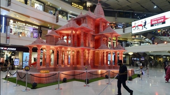 A replica of Ram Mandir (Ayodhya) installed inside a mall, in New Delhi. (Representational image/PTI)