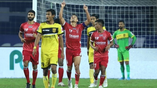 Odisha FC fought back to hold Hyderabad FC to a 1-1 draw(ISL/Twitter)