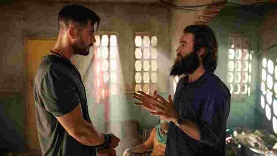 Chris Hemsworth and Sam Hargrave on the set of Extraction.