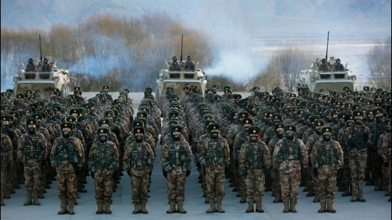 Chinese People's Liberation Army (PLA) soldiers assembling during military training at Pamir Mountains in Kashgar, northwestern China's Xinjiang region on January 4. (AFP)