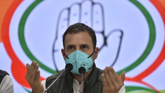 Congress leader Rahul Gandhi addresses a press conference at AICC office, in New Delhi. Photo by Sanjeev Verma