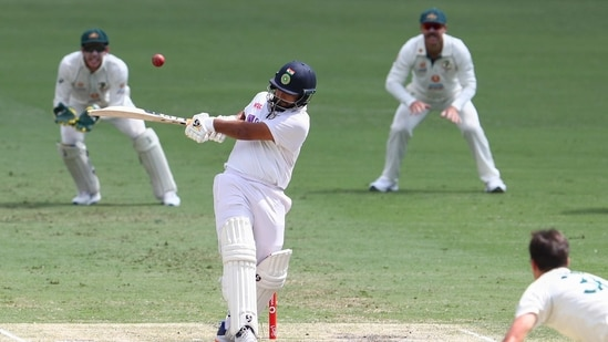 India's Rishabh Pant bats during play on the final day of the fourth cricket test between India and Australia at the Gabba, Brisbane, Australia, Tuesday, Jan. 19, 2021. (AP Photo/Tertius Pickard)(AP)