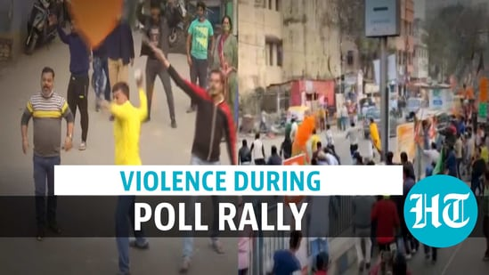 Violence erupted in Kolkata during an election rally on January 18