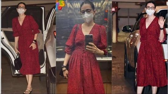 Karisma Kapoor's killer look in red puff-sleeved dress sets fans hearts aflutter(Instagram/thebegumkareenakapoorkhan/the_bollywood_closet/silverscreenpics)