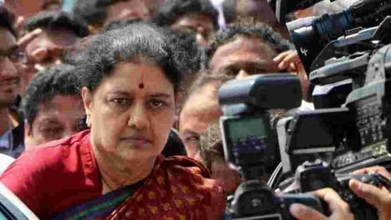 VK Sasikala is serving a four-year jail term in a disproportionate assets case.(PTI FILE PHOTO)