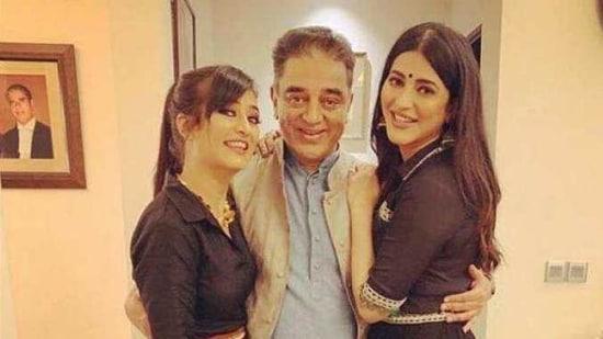 Kamal Haasan with daughters Shruti and Akshara.