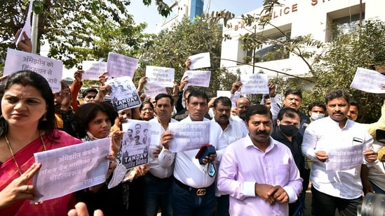 BJP leader Ram Kadam and party workers protest against Amazon Prime over its show 'Tandav', in Mumbai on Monday.(ANI Photo)