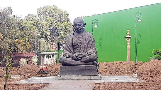 Gandhi's 16-feet high bronze statue in a meditating posture, sculpted by Ram Sutar, was unveiled by then President Shanker Dayal Sharma on October 2, 1993.(ANI Photo)