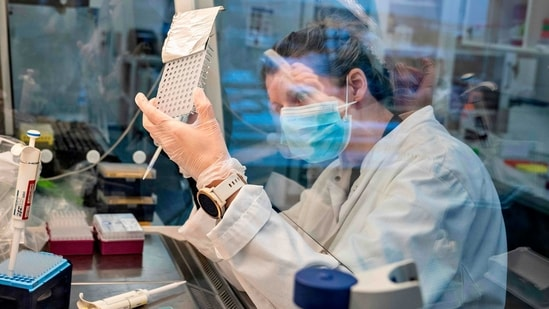 A researcher at Aalborg University looks at samples from behind a safety screen during the screening and analysis of all positive Danish coronavirus samples for the virus variant cluster B117 from the United Kingdom, on January 15.(AFP Photo)