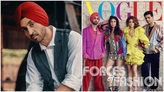 Diljit Dosanjh featured on a magazine cover in 2019 with Kareena Kapoor, Karan Johar and Natasha Poonawalla.