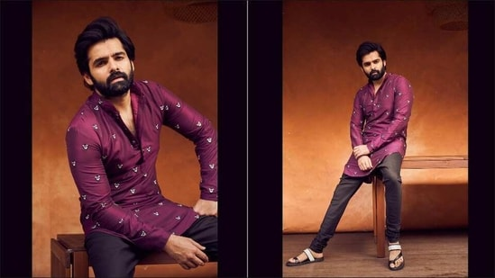 South sensation Ram Pothineni raises heat in Kunal Rawal's potted flower kurta(Instagram/ram_pothineni)