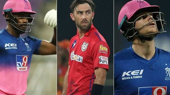 Sanju Samson (Extreme Left) is the new captain of Rajasthan Royals while Glenn Maxwell and Steve Smith have been released. (IPL)