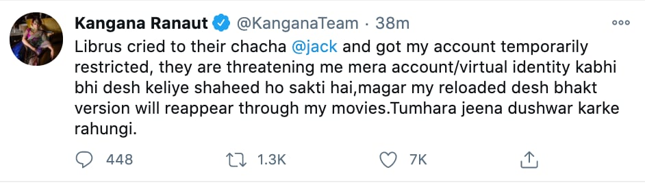 Kangana Ranaut says liberals got 'chacha' Jack Dorsey to restrict her Twitter  account: 'Will make your lives miserable' | Hindustan Times