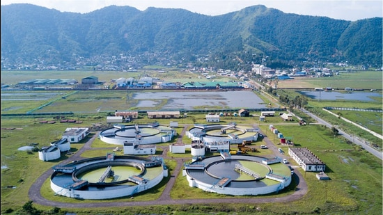 The sewage treatment plant at Lamphelpat in Manipur. (HT Photo)