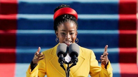 American poet Amanda Gorman reads a poem during the 59th Presidential Inauguration at the U.S. Capitol in Washington January 20, 2021.(Reuters)