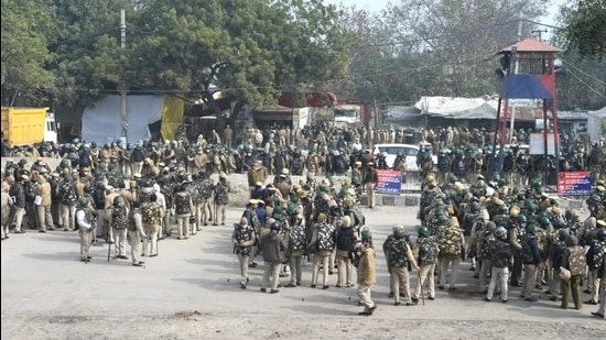 Tight security at Singhu border during farmer's ongoing agitation over the new farm laws, in New Delhi on January 20. (PTI)