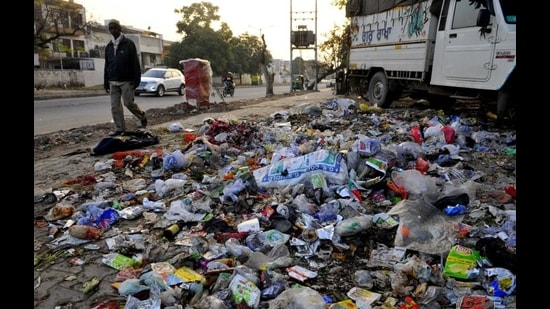 In some places, garbage has not been picked up since January 1. (Keshav Singh/HT)
