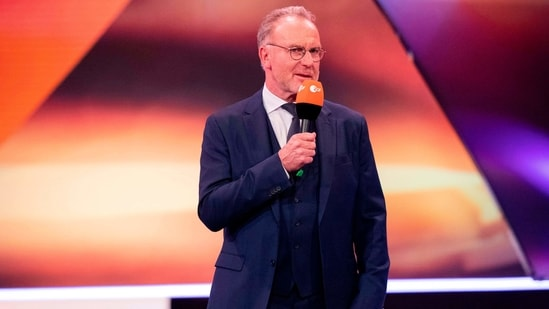 """Chairman of Executive Board of FC Bayern M�nchen Karl-Heinz Rummenigge speaks during the """"Germany's Athletes of the Year 2020"""" award ceremony in Baden-Baden on December 20, 2020. (Photo by Tom Weller / POOL / AFP)(AFP)"""