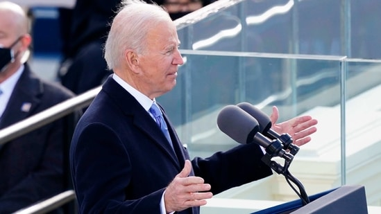 US President Joe Biden speaks during the 59th presidential inauguration in Washington, DC on the West Front of the US Capitol on January 20, 2021 in Washington, DC. - During today's inauguration ceremony Joe Biden became the 46th president of the United States. (Photo by Kevin Dietsch / POOL / AFP)(AFP)