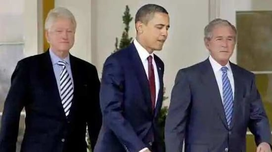 Former US Presidents Barack Obama, George W Bush and Bill Clinton