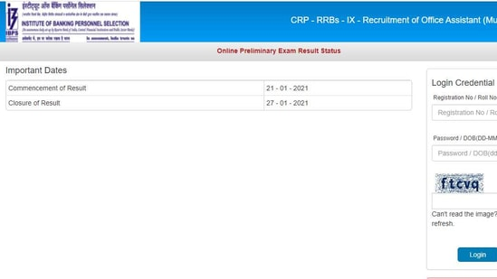 IBPS Office Assistant Prelims Results 2020-21 declared. (IBPS)