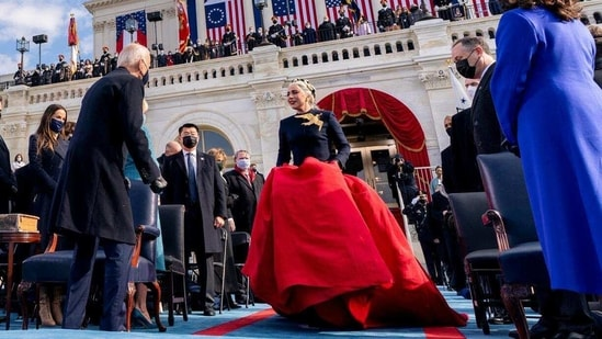 Lady Gaga arrives to perform the National Anthem as President-elect Joe Biden and Vice President-elect Kamala Harris watch during the 59th Presidential Inauguration at the U.S. Capitol, in Washington, U.S., January 20, 2021.(Reuters)