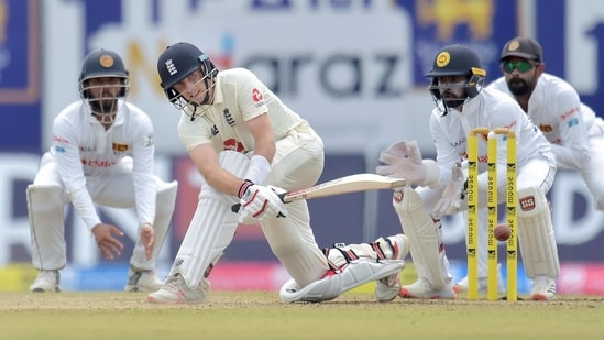 **EDS: HANDOUT IMAGE PROVIDED BY SRI LANKA CRICKET ON FRIDAY, JAN. 15, 2021** Galle: England captain Joe Root plays a sweep shot during the first test match between Sri Lanka and Engaland at Galle International Cricket Stadium in Galle, Friday, Jan. 15, 2021. (PTI Photo)(PTI01_15_2021_000234B)(PTI)