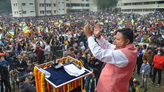 Gorkhaland Territorial Administration (GTA) Chairman Anit Thapa during a rally at Sukna in Siliguri in December 2020.(PTI)