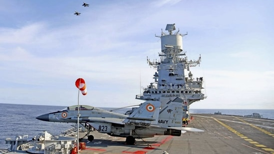Advance air operations practice being undertaken with MiG 29Ks from INS Vikramaditya of Indian Navy. (PTI)