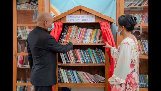 The image shows the newly inaugurated library.(Twitter/@ANI)