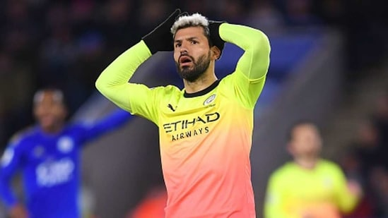 Sergio Aguero reacts. (Getty Images)