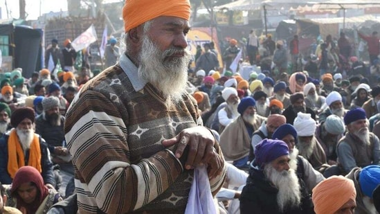Farmers protest at Singhu border in New Delhi on January 20. (PTI)(HT_PRINT)