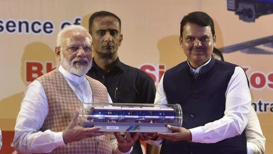 Devendra Fadnavis also said it is impractical to merge Metro-2 and 3 lines.(Kunal Patil/HT photo)