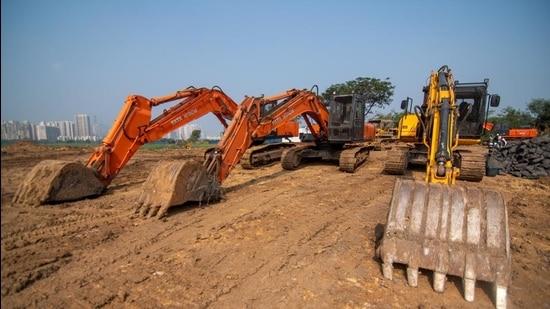 Metro Kanjurmarg car shed site. (Pratik Chorge/HT PHOTO)