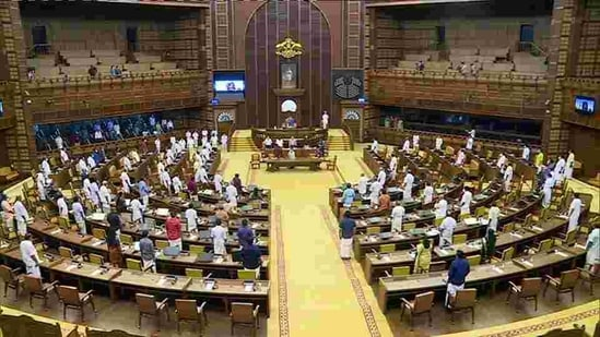 The Kerala assembly rarely takes up such motions and during the debate Deputy Speaker V Sasi presided over the house as the Speaker sat with the other members. (ANI PHOTO) (ANI)