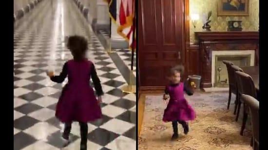 The image shows Leela running around the White House.(Instagram/@meena)