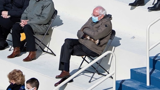 U.S. Senator Bernie Sanders sit socially distanced as he attends the inauguration of Joe Biden-Kamala Harris.(REUTERS)