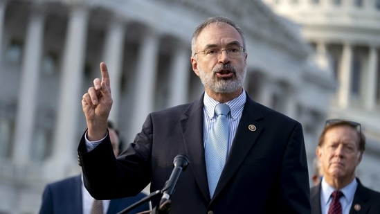 Representative Andy Harris, a Republican from Maryland, speaks during a news conference outside the US Capitol, December 3, 2020.(Bloomberg)