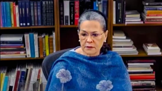 Congress president Sonia Gandhi addresses a CWC meeting via video conferencing, in New Delhi, in June 2020. (File photo)