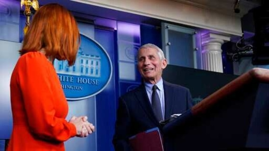 White House press secretary Jen Psaki and Dr Anthony Fauci during a press briefing in the James Brady Press Briefing Room at the White House.(AP)