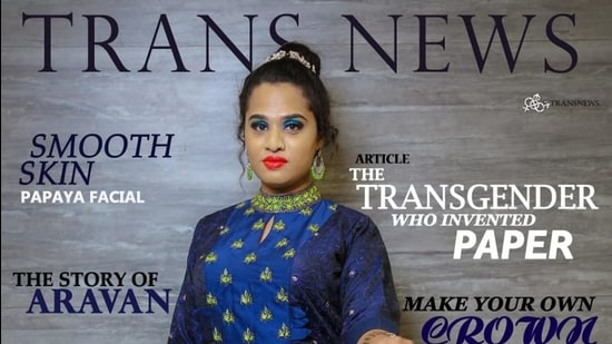 "A Trans News cover. ""Its most special attribute,"" says editor Priya Babu, ""is that the models for all the photos used with the stories are transgender people."""