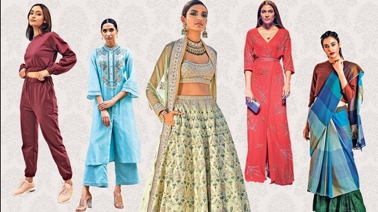 Designers have been rethinking their collections. Above, a printed jumpsuit with relaxed silhouette by Nachiket Barve. An Anita Dongre lehenga with pockets, made up of pieces that can be reused separately. A powder blue chanderi kurta with trousers meant for comfort, by Ritu Kumar. A dressy sweatsuit with statement sleeves by Twenty Dresses. A woollen sari by Anavila Misra.
